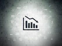 News concept: Decline Graph on Digital Data Paper background. News concept: Painted black Decline Graph icon on Digital Data Paper background with Hand Drawn stock illustration