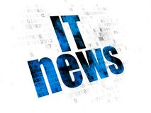News concept: IT News on Digital background. News concept: Pixelated blue text IT News on Digital background Royalty Free Stock Images