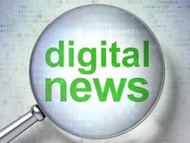 News concept: Digital News with optical glass. News concept: magnifying optical glass with words Digital News on digital background, 3D rendering Royalty Free Stock Image
