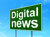 News concept: Digital News on road sign background Royalty Free Stock Image