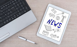 News concept on a digital tablet Stock Photo