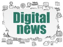 News concept: Digital News on Torn Paper background. News concept: Painted green text Digital News on Torn Paper background with  Hand Drawn News Icons Royalty Free Stock Photo
