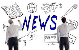 News concept drawn by businessmen Stock Images