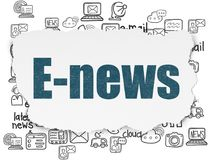 News concept: E-news on Torn Paper background. News concept: Painted blue text E-news on Torn Paper background with  Hand Drawn News Icons Stock Image