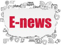 News concept: E-news on Torn Paper background. News concept: Painted red text E-news on Torn Paper background with  Hand Drawn News Icons Royalty Free Stock Photos