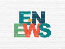 News concept: E-news on wall background. News concept: Painted multicolor text E-news on White Brick wall background Royalty Free Stock Image