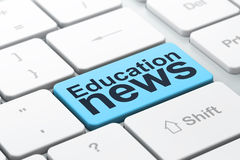 News concept: Education News on computer keyboard. News concept: computer keyboard with word Education News, selected focus on enter button background, 3d render Stock Images