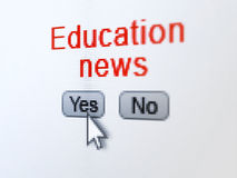 News concept: Education News on digital computer. News concept: buttons yes and no with pixelated word Education News and Arrow cursor on digital computer screen Stock Images