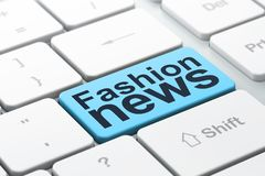 News concept: Fashion News on computer keyboard background. News concept: computer keyboard with word Fashion News, selected focus on enter button background, 3D Royalty Free Stock Photography