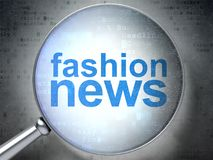 News concept: Fashion News with optical glass. News concept: magnifying optical glass with words Fashion News on digital background, 3D rendering Royalty Free Stock Image