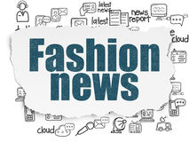 News concept: Fashion News on Torn Paper. News concept: Painted blue text Fashion News on Torn Paper background with  Hand Drawn News Icons, 3d render Royalty Free Stock Photos