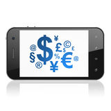 News concept: Finance Symbol on smartphone. News concept: smartphone with Finance Symbol icon on display. Mobile smart phone on White background, cell phone 3d Royalty Free Stock Image