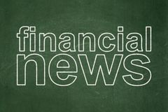 News concept: Financial News on chalkboard background. News concept: text Financial News on Green chalkboard background Stock Photo