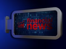 News concept: Financial News and Growth Graph on billboard background. News concept: Financial News and Growth Graph on advertising billboard background, 3D Royalty Free Stock Photo