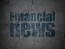 News concept: Financial News on grunge wall background. News concept: Blue Financial News on grunge textured concrete wall background Stock Photos