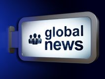 News concept: Global News and Business People on billboard background. News concept: Global News and Business People on advertising billboard background, 3D Royalty Free Stock Photography