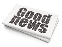 News concept: Good News on Blank Newspaper background. News concept: Pixelated black text Good News on Blank Newspaper background, 3D rendering Royalty Free Stock Photo
