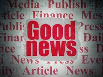 News concept: Good News on Digital Data Paper background. News concept: Painted red text Good News on Digital Data Paper background with   Tag Cloud Royalty Free Stock Photography