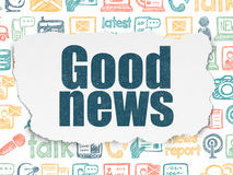 News concept: Good News on Torn Paper background. News concept: Painted blue text Good News on Torn Paper background with  Hand Drawn News Icons, 3d render Stock Images