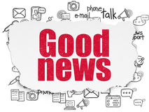 News concept: Good News on Torn Paper background. News concept: Painted red text Good News on Torn Paper background with  Hand Drawn News Icons, 3d render Stock Images