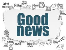 News concept: Good News on Torn Paper background. News concept: Painted blue text Good News on Torn Paper background with  Hand Drawn News Icons Stock Images