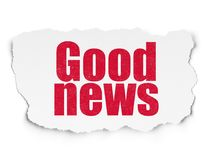 News concept: Good News on Torn Paper background. News concept: Painted red text Good News on Torn Paper background with  Tag Cloud Royalty Free Stock Images