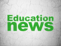 News concept: Education News on wall background. News concept: Green Education News on textured concrete wall background Stock Photos