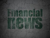 News concept: Financial News on grunge wall background. News concept: Green Financial News on grunge textured concrete wall background Royalty Free Stock Photos