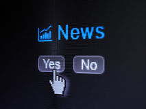 News concept: Growth Graph icon and News on digital computer screen. News concept: buttons yes and no with pixelated Growth Graph icon, word News and Hand cursor Stock Images