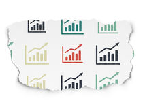 News concept: Growth Graph icons on Torn Paper. News concept: Painted multicolor Growth Graph icons on Torn Paper background, 3d render Royalty Free Stock Images