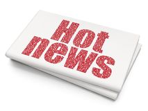 News concept: Hot News on Blank Newspaper background. News concept: Pixelated red text Hot News on Blank Newspaper background, 3D rendering Royalty Free Stock Photos
