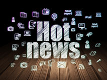 News concept: Hot News in grunge dark room Royalty Free Stock Photo