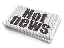 News concept: Hot News on Newspaper background. News concept: Pixelated black text Hot News on Newspaper background, 3D rendering Stock Image