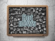 News concept: Hot News on School board background Stock Photos