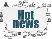 News concept: Hot News on Torn Paper background. News concept: Painted blue text Hot News on Torn Paper background with  Hand Drawn News Icons, 3d render Stock Photos