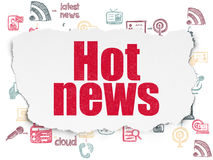 News concept: Hot News on Torn Paper background Stock Images