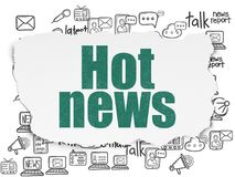 News concept: Hot News on Torn Paper background. News concept: Painted green text Hot News on Torn Paper background with  Hand Drawn News Icons Royalty Free Stock Images