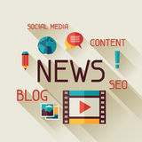 News concept illustration in flat design style Stock Photography