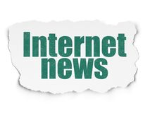 News concept: Internet News on Torn Paper background. News concept: Painted green text Internet News on Torn Paper background with  Hand Drawn News Icons Royalty Free Stock Images