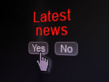 News concept: Latest News on digital computer. News concept: buttons yes and no with pixelated word Latest News and Hand cursor on digital computer screen Royalty Free Stock Photos