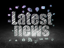 News concept: Latest News in grunge dark room Royalty Free Stock Images