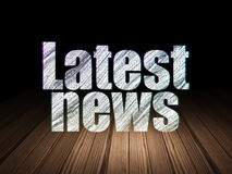 News concept: Latest News in grunge dark room. News concept: Glowing text Latest News in grunge dark room with Wooden Floor, black background, 3d render Stock Photo