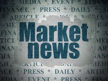 News concept: Market News on Digital Data Paper background. News concept: Painted blue text Market News on Digital Data Paper background with   Tag Cloud Royalty Free Stock Photography