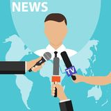 News concept with microphones. Journalists hands holding microphones performing interview. Media tv and interview, information for stock illustration
