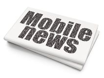 News concept: Mobile News on Blank Newspaper background. News concept: Pixelated black text Mobile News on Blank Newspaper background, 3D rendering Royalty Free Stock Image
