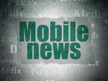 News concept: Mobile News on Digital Data Paper background Royalty Free Stock Image
