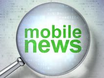 News concept: Mobile News with optical glass. News concept: magnifying optical glass with words Mobile News on digital background, 3D rendering Royalty Free Stock Images