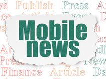 News concept: Mobile News on Torn Paper background. News concept: Painted green text Mobile News on Torn Paper background with  Tag Cloud Royalty Free Stock Photography