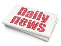 News concept: Daily News on Blank Newspaper background. News concept: Pixelated red text Daily News on Blank Newspaper background, 3D rendering Royalty Free Stock Photos