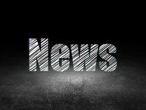 News concept: News in grunge dark room. News concept: Glowing text News in grunge dark room with Dirty Floor, black background, 3d render Royalty Free Stock Photo